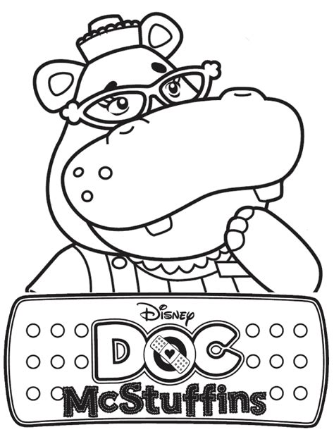 doc mcstuffins hallie the hippo coloring page h m