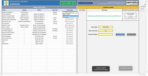 family tree template printable excel generator