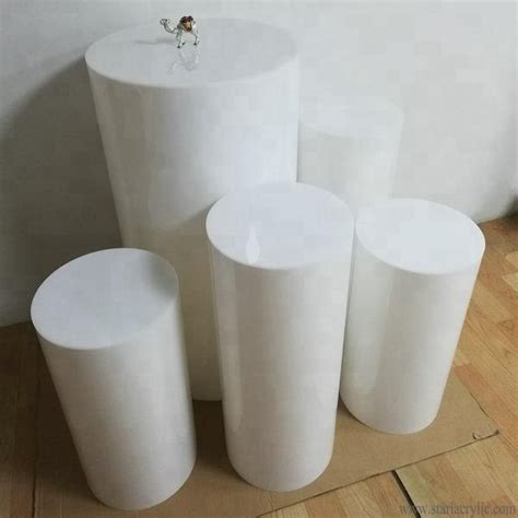 source white acrylic party  plinths acrylic cylinder