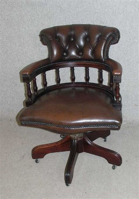 Leather Captains Chair by Antiques Atlas Leather Captains Revolving Office Chair