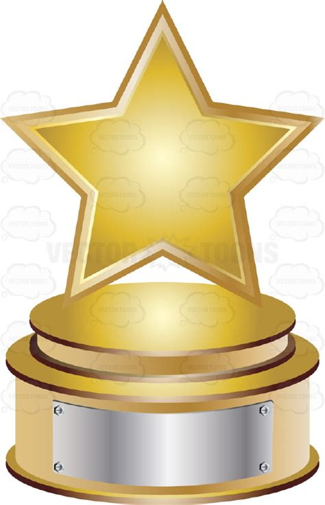 Place On A Pedestal Gold Star Trophy On Gold Metal Base With Blank Silver