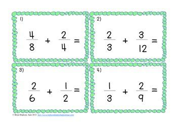 adding fractions card template free adding and subtracting fractions with unlike