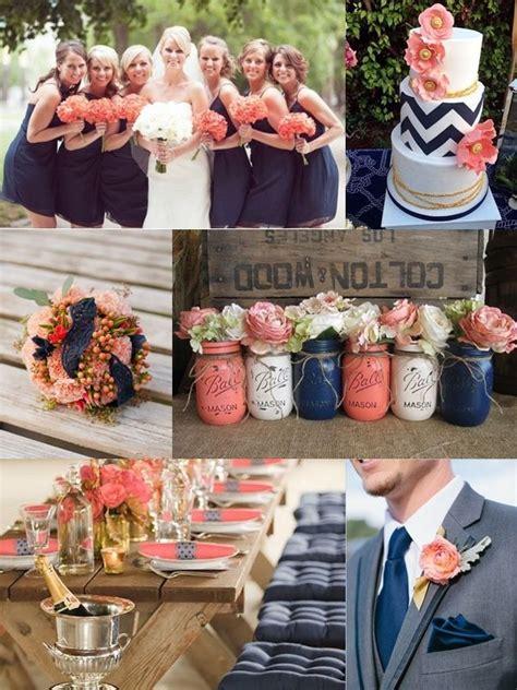 coral pink  navy blue beach wedding   rustic theme