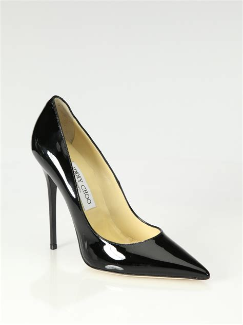Get Your Groove On With Jimmy Choo Patent Shoes by Jimmy Choo Anouk Patent Leather Point Toe Pumps In Black