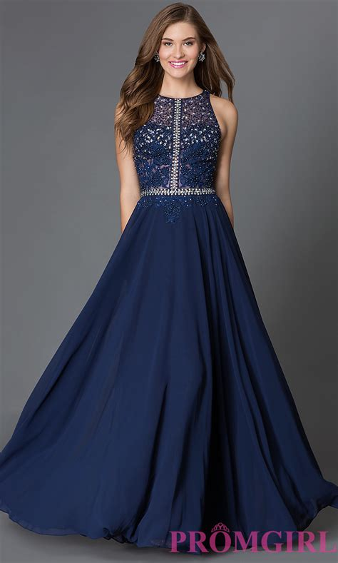 Gown Blue illusion top racerback formal dress promgirl