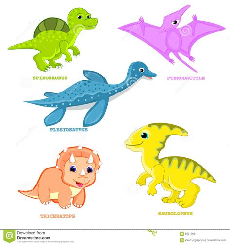 baby clip on fan baby dinosaur set vector illustration plesiosaur