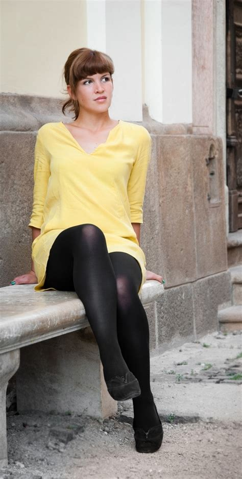 black opaque tights and shoes with yellow dress black