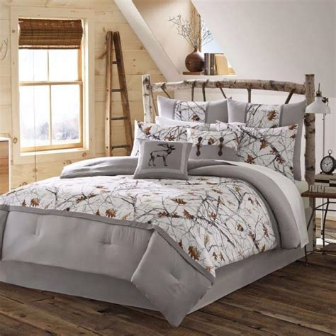 new twin full queen king bed gray grey white trees snow