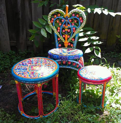 Hippie Furniture by Reserved For N Abstract Hippie Style Painted Ooak