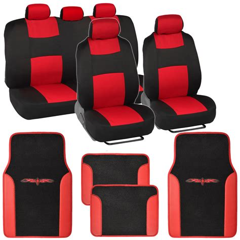 full bench seat covers full bench car seat covers set black red w pu leather