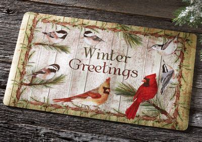 Winter Front Door Mats Winter Cardinal Chickadees Greetings Door Mat
