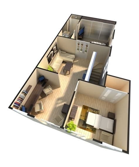 Studio Apartment Floor Plans Furniture Layout 3d rendering studio architectural rendering mechanical