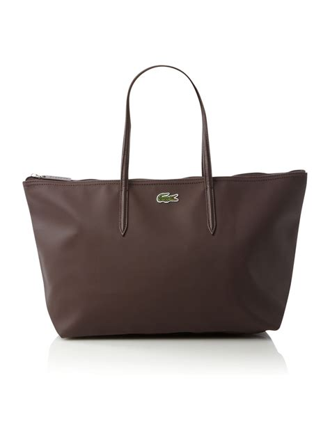 lacoste pique large tote bag in brown lyst