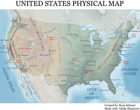 physical map of usa with states cartographic design