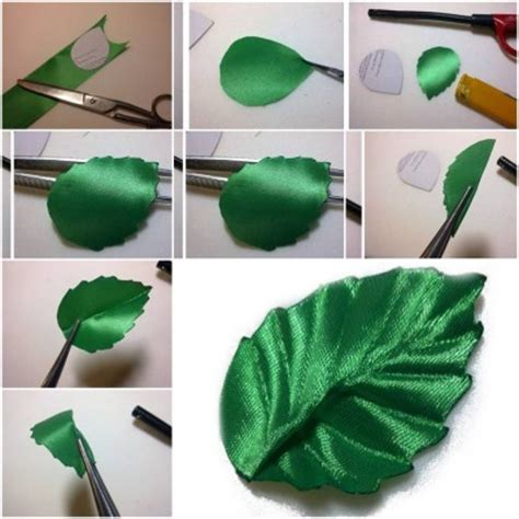 How To Make Paper Leaves For Flowers - how to make ribbon leaf step by step diy tutorial
