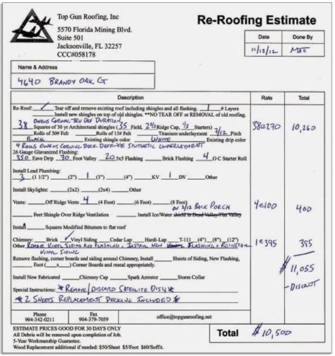 Roof Replacement Estimate Example   : Roofing and Siding