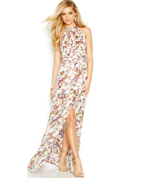 Guess Fashion Gold White guess floral halter maxi dress lyst