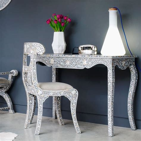 of pearl desk grey and of pearl console table from graham and