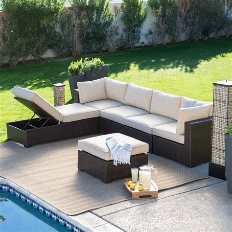 all weather wicker sectional belham living marcella all weather outdoor wicker 6 piece