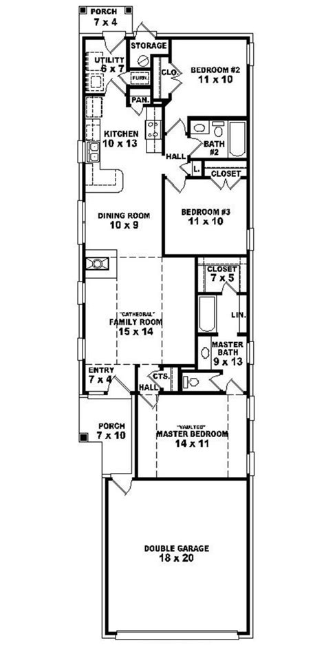 Floor Plans For Single Level Homes by 653501 Warm And Open House Plan For A Narrow Lot