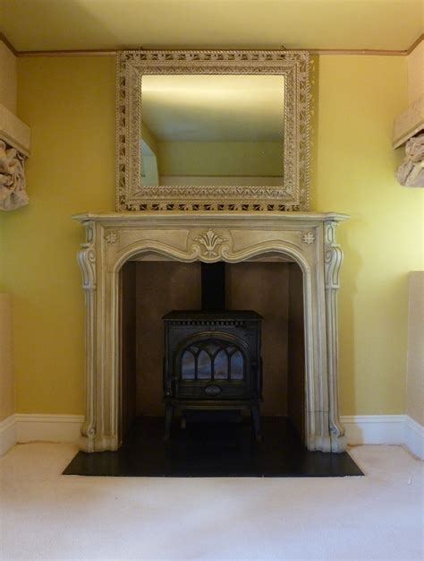 painted shabby chic fireplace