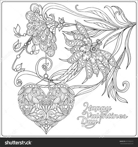 happy valentine s day flowers coloring page free coloring pages happy valentine day card with decorative