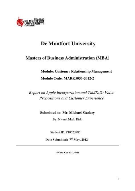Customer Relationship Management Mba Project Report by 204511593 Customer Relationship Management Crm Report