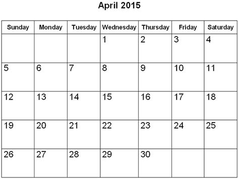 Calendar 2015 Printable April Blank Printable Calendar 2015 Kiddo Shelter