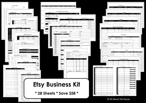 etsy business plan template etsy business planner printables work at home