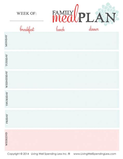 family meal plan template family meal plan living well spending less 174