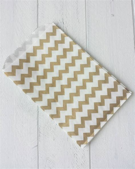 Gold Chevron Flat Favor Bag Paper Bag 20 flat gold chevron paper bags 5 quot x7 5 quot from withlovebytwosisters on etsy studio