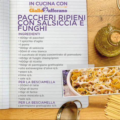 ricette cucina in cucina con giallo zafferano ricetta di oggi paccheri
