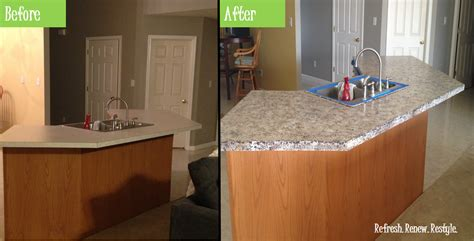Countertop Paint Before And After refresh renew restyle faux granite painted countertops