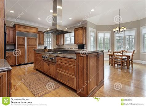 center island for kitchen kitchen with wood and granite center island stock photo