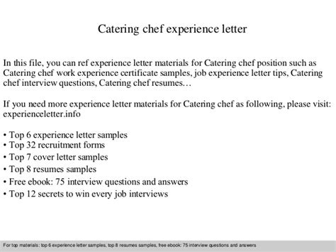Work Experience Letter Of Chef catering chef experience letter