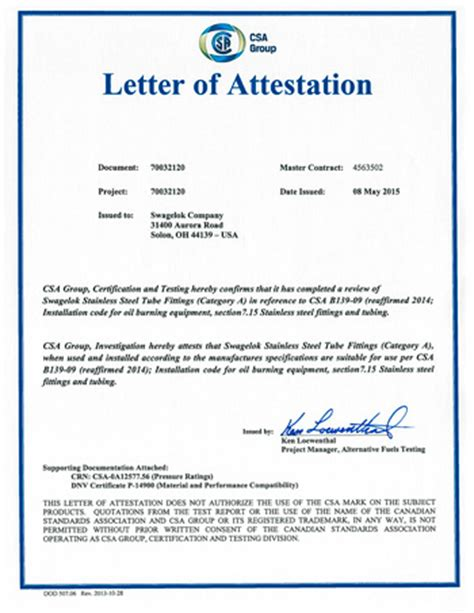 Attestation La Letter Autorisation D Utiliser Les Raccords Swagelok En Acier Inoxydable 224 Compression 224 Doubles