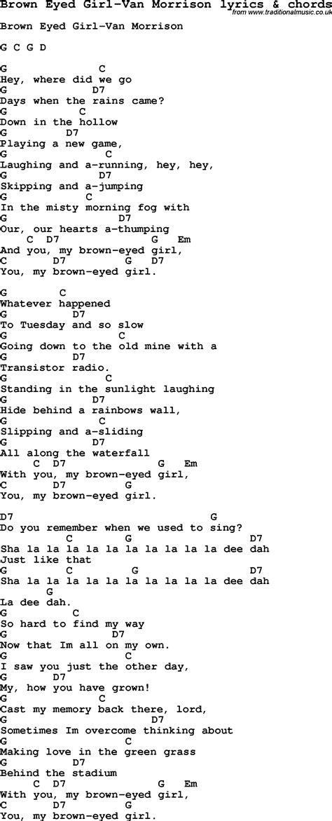 printable lyrics for brown eyed girl love song lyrics for brown eyed girl van morrison with chords