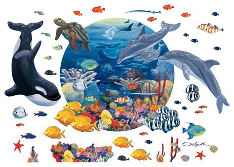 Kid Wall Murals ocean life peel and stick mural with 40 extra creatures