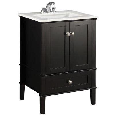 simpli home chelsea 24 in vanity in black with quartz