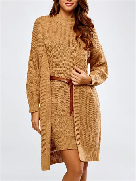 belted sweater dress and fitting collarless cardigan in