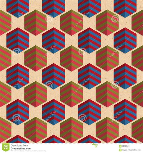 Folded Paper Ornament Pattern - retro fold striped hexagons stock vector image 60404510
