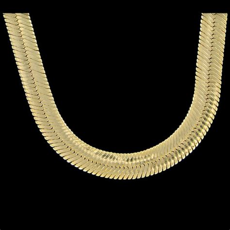 mann gold herringbone chain plated 11mm 20 inch necklace
