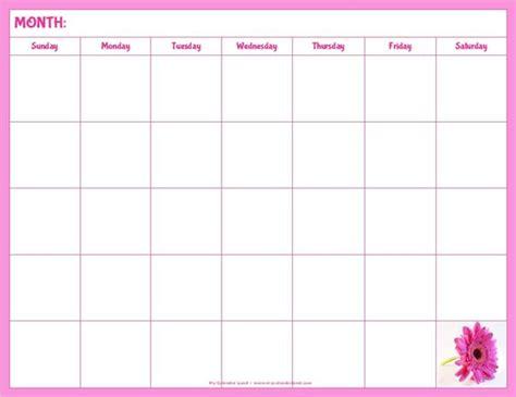Printable Monthly Calendar Pink | printable blank calendar blank calendar with pink flower