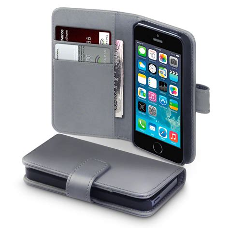Wallet Iphone 5 5s real genuine leather wallet for apple iphone 5 5s se