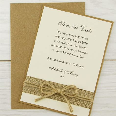 save the date wedding stationery uk rustic burlap save the date invitation wedding invites
