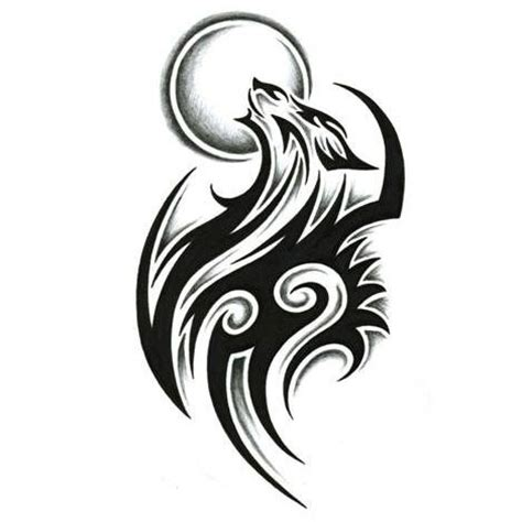 tribal wolf and moon tattoo 60 tribal wolf tattoos designs and ideas