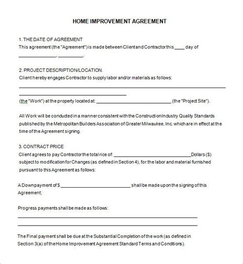 home improvement contract template template design