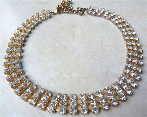 collar and bracelet vintage style rhinestone collar choker necklace and bracelet set