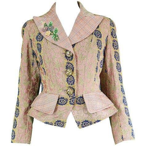 Jacquard Ruffle Blazer 1990s christian lacroix haute couture embroidered jacket