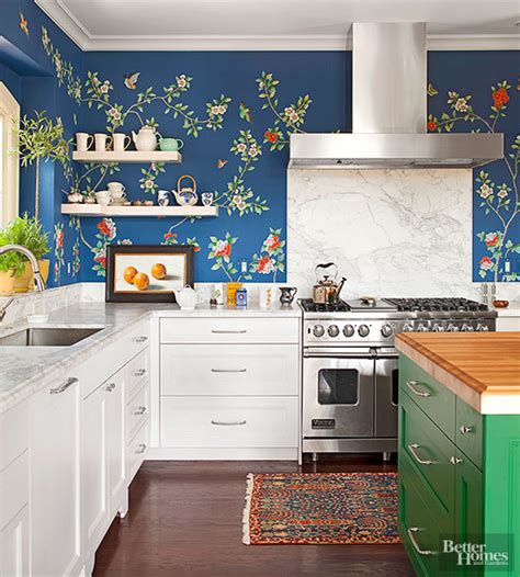 Backsplash Ideas For White Kitchen Cabinets by 20 Creative Ways To Use Wallpaper In The Kitchen